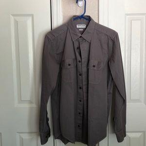 American apparel grey button up men's shirt